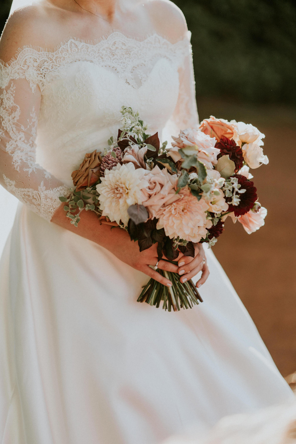 A bride holding beautiful wedding flowers
