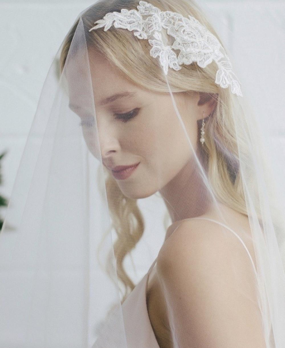 Beautiful bride wearing romantic veil