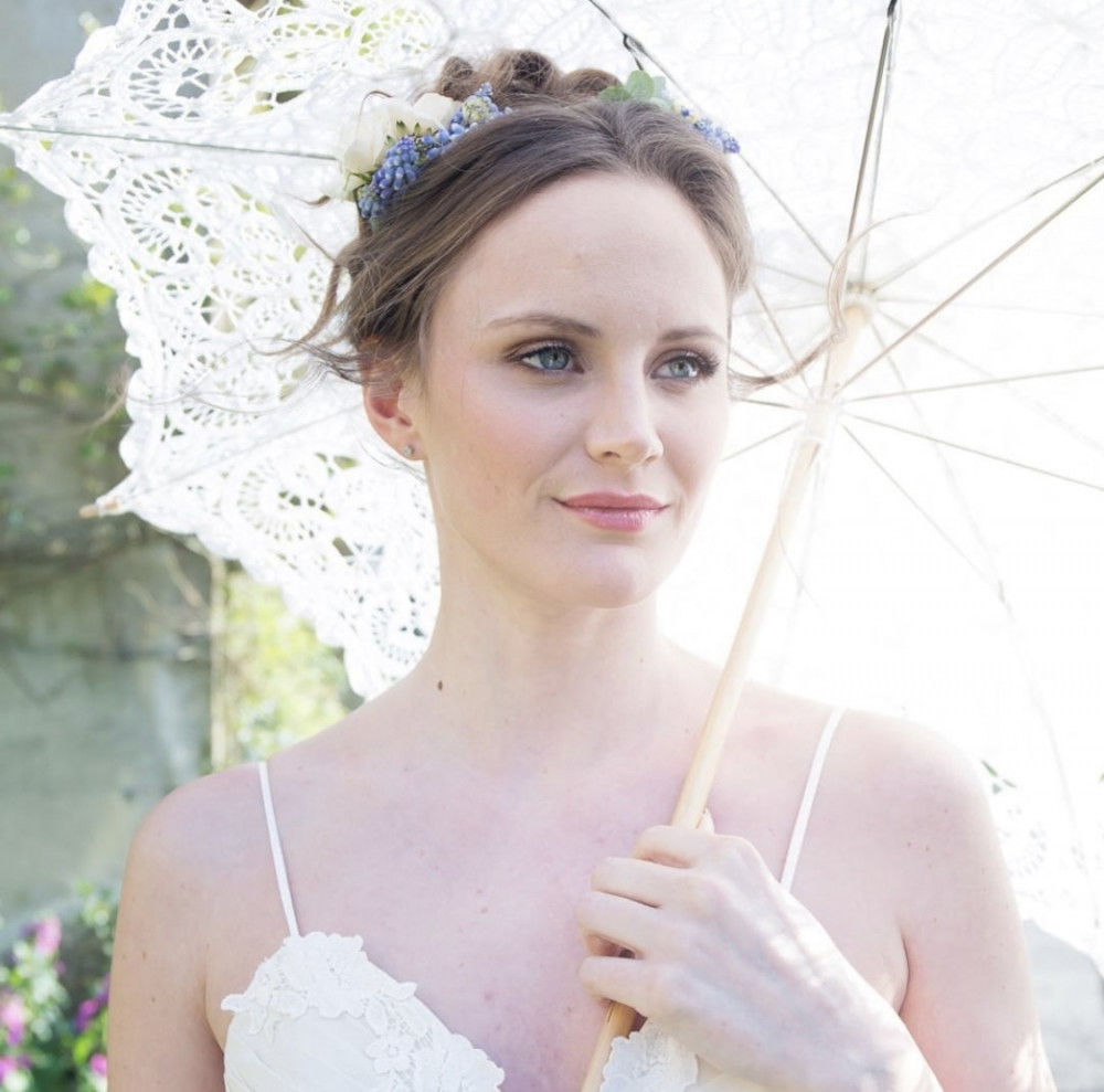 Top bridal styling tips for a perfect summer wedding - Hair and Makeup by Arabella Hewitt... Photography by Stacia Morgan Photography... Styling by Emma Hunt London... Dress by Heart A Flutter Bridal...Accessories by V V Rouleaux' pin_description='Keeping an umbrella handy for your outdoor wedding can provide some much needed shade on a blazing hot midsummers day.  Match the lace to your dress or wedding theme for a bit of fun. We love this gorgeous bride who's hair and makeup look was created by Surrey based Pro Artist Arabella Hewitt
