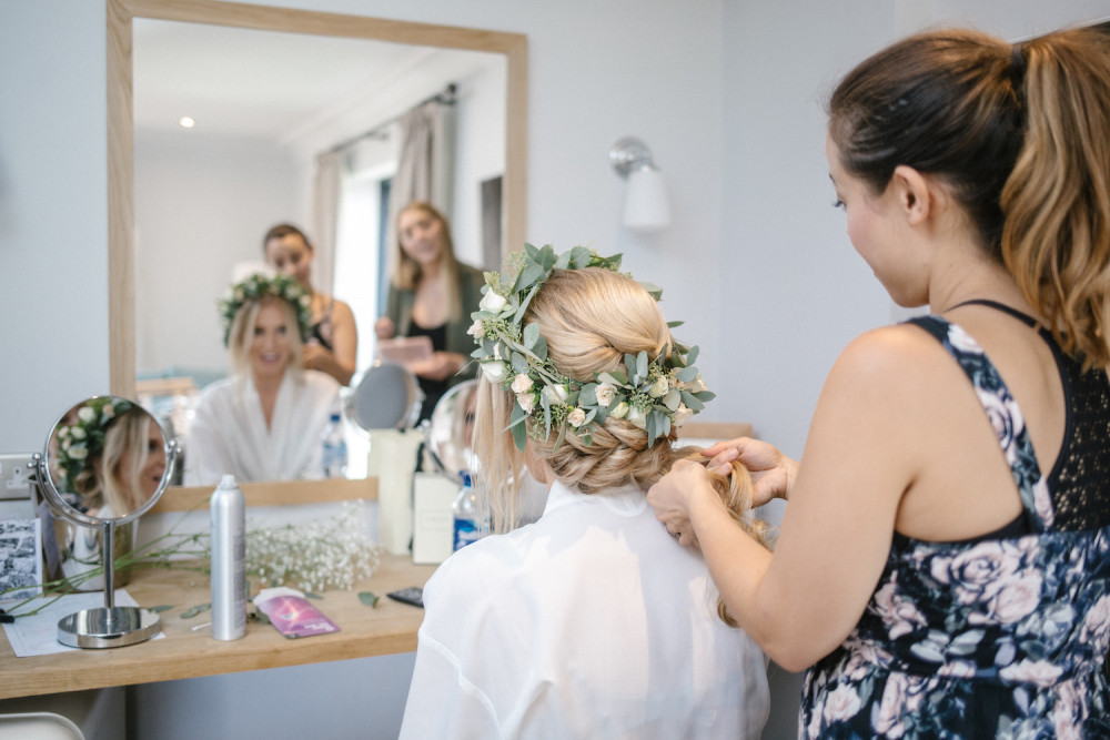 Beautiful boho hair do with flowers