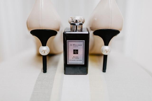 Wedding shoes with luxury perfume
