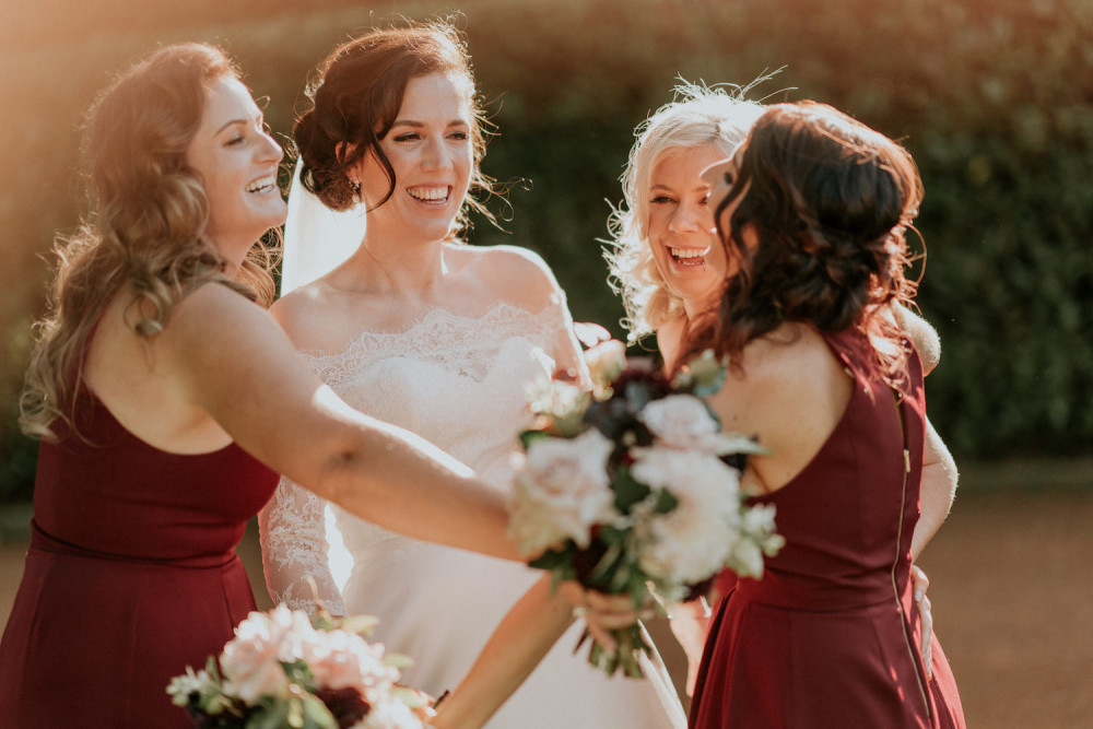 Image of Bride with Bridesmaids. Real Wedding blog post. Makeup by Quelle Bester