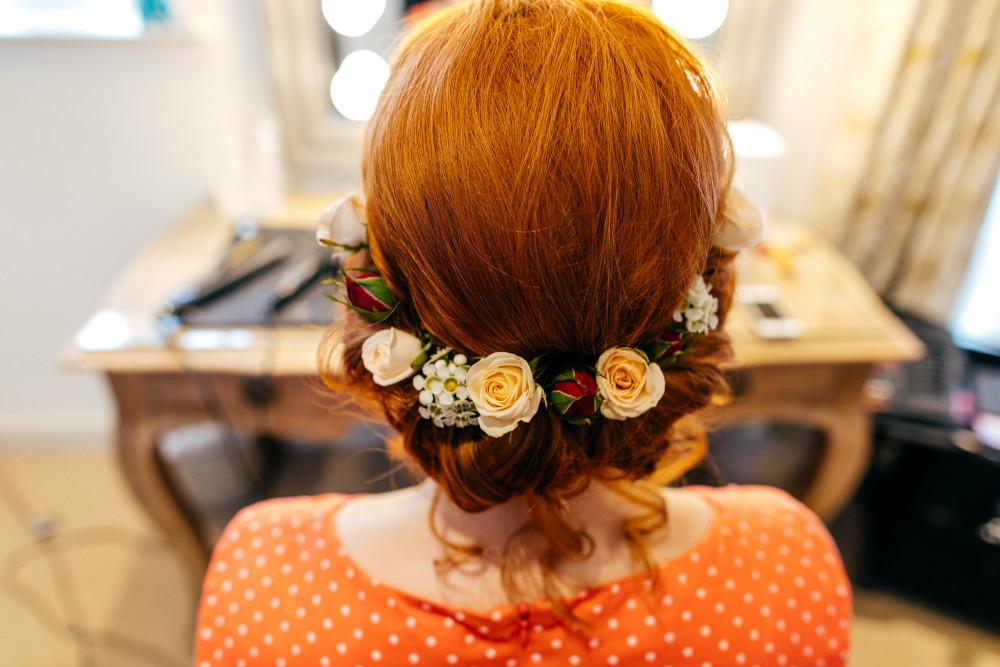Flower Crown, relaxed updo - Make Me Bridal Artist: Cambridge Makeup Artist - Hair & Makeup. #redhead #bohobride #bohowedding