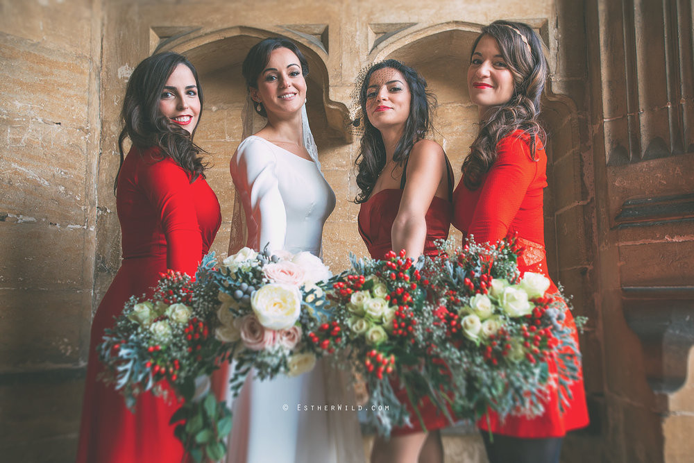 December wedding at Hengrave Hall, Suffolk. - Make Me Bridal Artist: Cambridge Makeup Artist - Hair & Makeup. Photography by: Esther Wild. #bridalmakeup #bridalhair #bridesmaidhair #redlip #christmaswedding