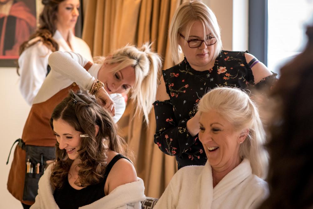 Cambridge makeup artist team at work, Cambridge - Make Me Bridal Artist: Cambridge Makeup Artist - Hair & Makeup. #weddingmorning #meatwork #weddinghair #bridesmaidhairandmakeup #bride #bridalprep #statementhair