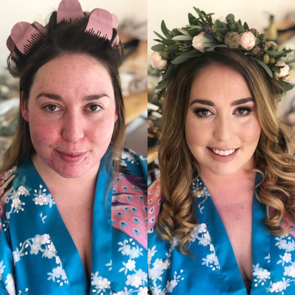 Before and after - Make Me Bridal Artist: Claire Jane's Totally Flawless.