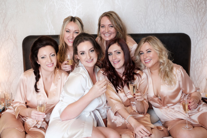 Bride and Bridesmaids on wedding morning - Make Me Bridal Artist: Head Turners - Martine Turner. Photography by: Kevin Watkins Photography. #bridalmakeup #bridalhair #bridesmaidhairandmakeup #bridesmaidmakeup #soft #bridalmakeupartist