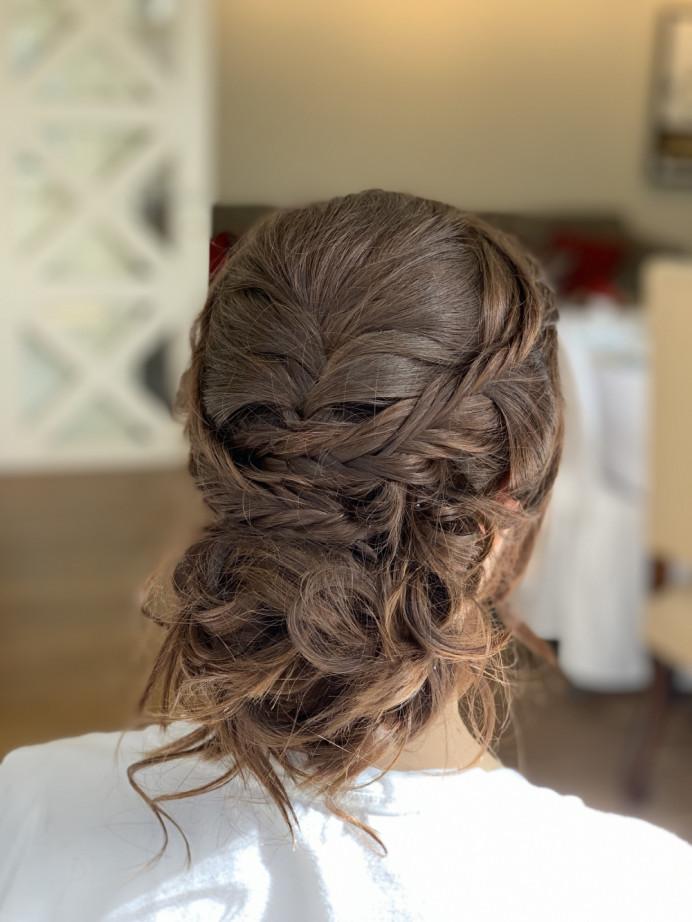 Bridal updo with braids - Make Me Bridal Artist: Head Turners - Martine Turner. #bridalhair #bridalhairstylist #braidedupdo #braidedupdo #braidedbridalupdo #brunettebride