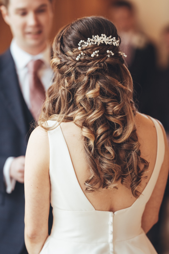 Half up half down with 4 braids - Make Me Bridal Artist: Head Turners - Martine Turner. Photography by: Garrett Brady. #bohemian #bridalhair #brunette #bridalhairstylist #halfuphair #halfuphalfdown #longhair #sussexhairstylist #romantichair #braidedhalfuphalfdown #longcurls #surreybridalhair