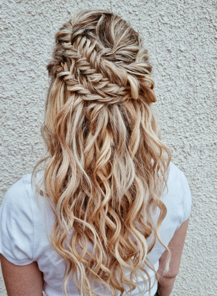 A beautiful half up ideal for Boho brides or bridesmaids - Make Me Bridal Artist: Victoria Louise Bridal Hair. #bohemian #boho #halfuphair #bridalhair #bohobride #bohowedding #weddinghairup