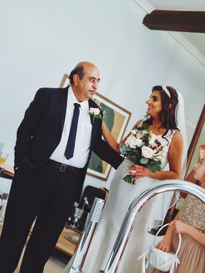 When you capture that moment the brides father sees his beautiful daughter, I was capturing the hair but this was a beautiful moment - Make Me Bridal Artist: Victoria Louise Bridal Hair. #bridalhair #weddinghair #fatherofthebride #brides