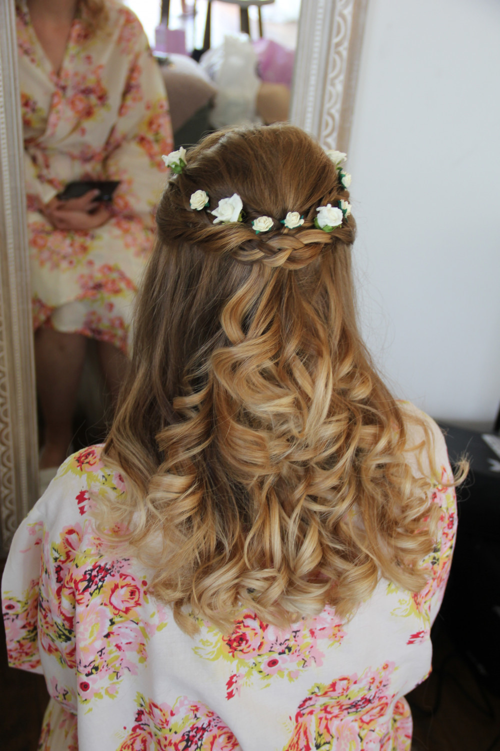 A stunning bridesmaids style. Half half down with loose curls and a plait with a twist to add some beautiful detail to this lovely hair do - Make Me Bridal Artist: Wedding hair by Tara. #bohemian #halfuphair #curls #blonde #plaits #loosecurls #bridesmaidhair