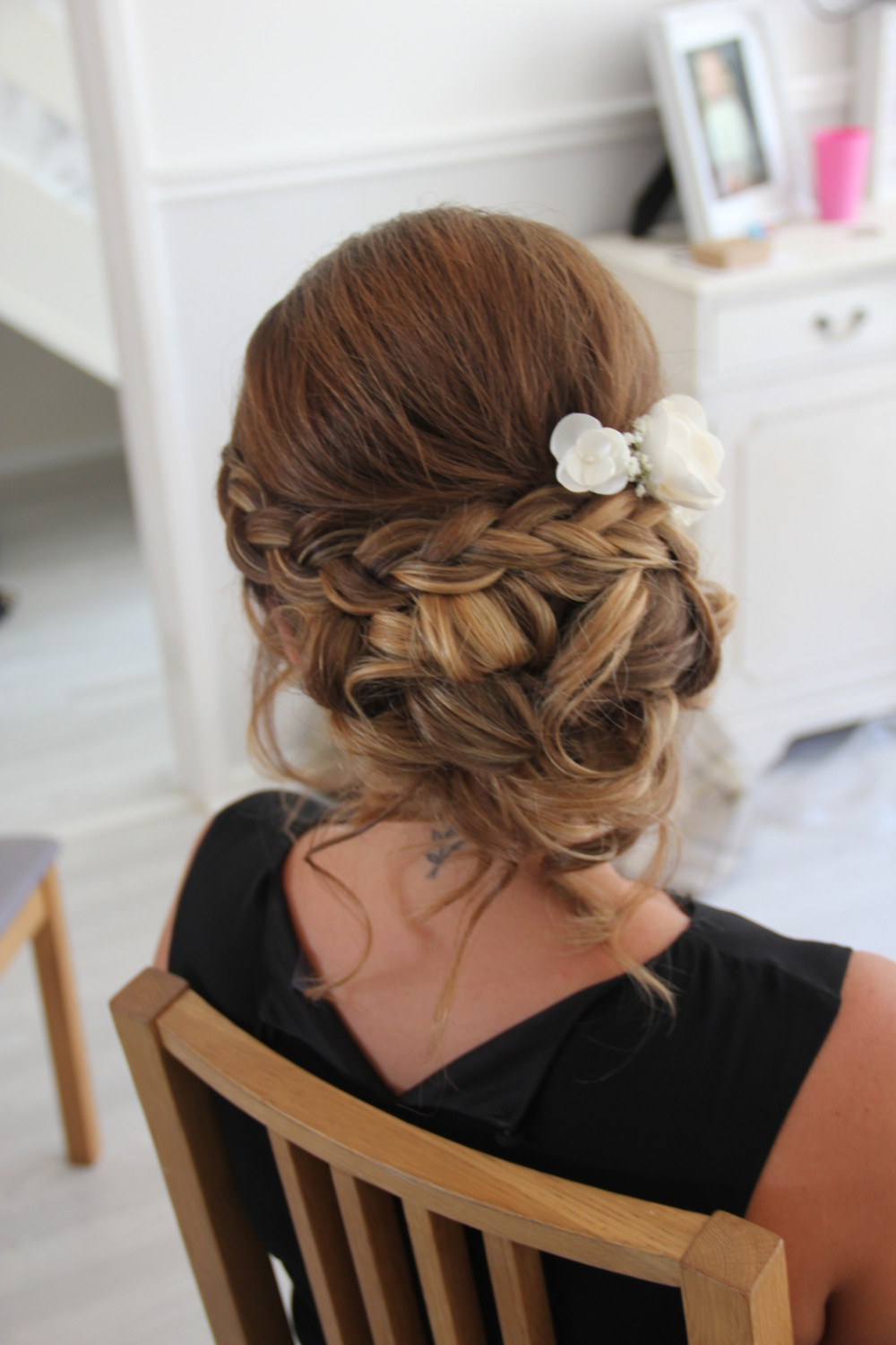A stunning plait combined with an up do - Make Me Bridal Artist: Wedding hair by Tara.