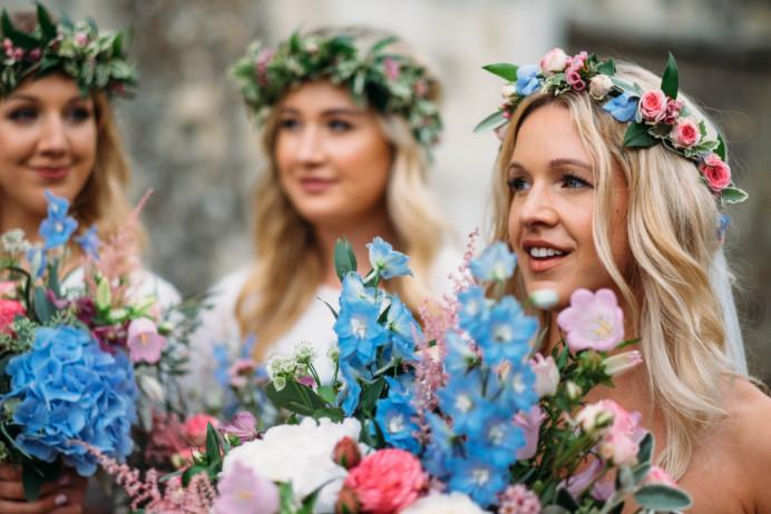 Molly and her sisters - look at those blooms! x - Make Me Bridal Artist: BEYOU Weddings hair & makeup. #flowercrown #bridesmaidhair #flawlessbride #freshflowers #modernbride