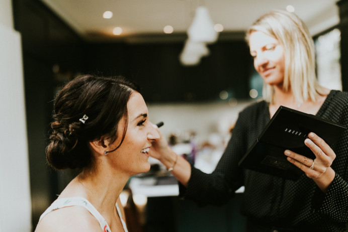 Action shot of getting Charlotte ready for her gorgeous wedding at The NED in London x - Make Me Bridal Artist: BEYOU Weddings hair & makeup.