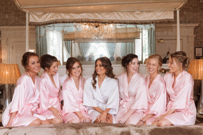 The bride and her bridal party getting ready at Babington House! Such a fun morning with such a great feeling of energy. It was a pleasure being able to put together these unique, individual hairstyles for this gorgeous group of bridesmaids. - Make Me Bridal Artist: Bridal Hair in Hampshire. Photography by: Anna Fowler Photography. #classic #glamorous #weddingmorning #bridalhair #bridesmaid