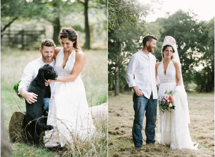 Incorporating this bride's gorgeous headdress was a challenge I relished! It's a stunning personal touch and fits with the beautiful, relaxed, outdoorsy feel of this wedding day. - Make Me Bridal Artist: Bridal Hair in Hampshire. Photography by: Camilla Arnhold. #bohemian #classic #bohobride #modern