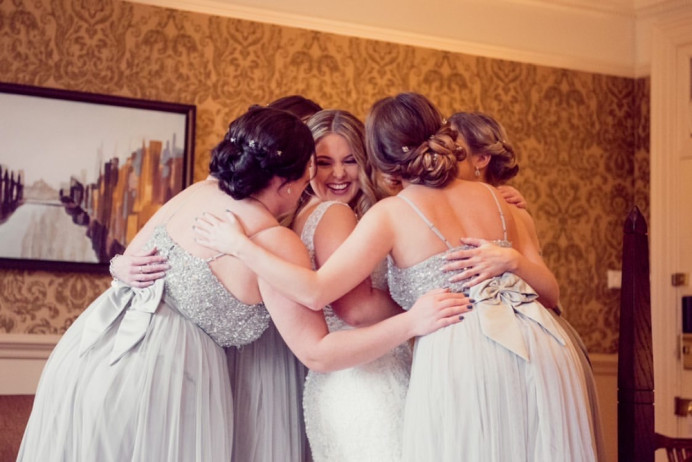 The bride and her bridesmaids, all ready for the excitement of the day ahead! Such a gorgeous group of girls and a pleasure to be a part of the wedding morning. - Make Me Bridal Artist: Bridal Hair in Hampshire. Photography by: Lawes Photography. #classic #vintage #romantic #bridesmaids #bridalparty