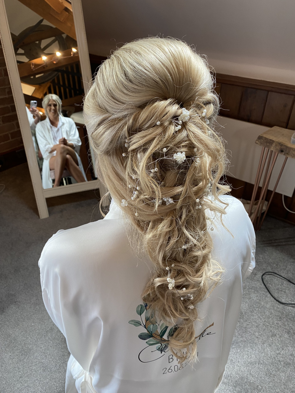 Hair by Wendy - Make Me Bridal Artist: Sapphire Styling hair and makeup . #bohemian #glamorous #blonde #bridalhair #weddinghair #mermaidbraid