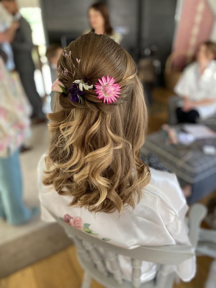 - Make Me Bridal Artist: Sapphire Styling hair and makeup . #halfuphair #flowersinherhair #bridesmaidhair #halfuphalfdown