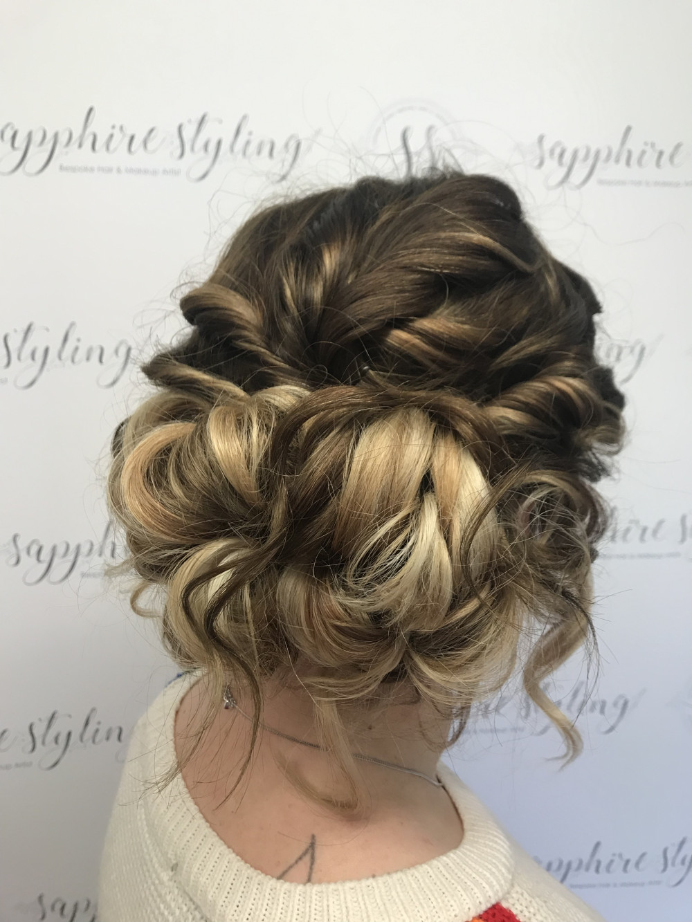 textured up do messy but done !  using extensions for volume and adding colour to see detail - Make Me Bridal Artist: Sapphire Styling hair and makeup . #bridalhair #weddinghair #texturedupdo #upstyle