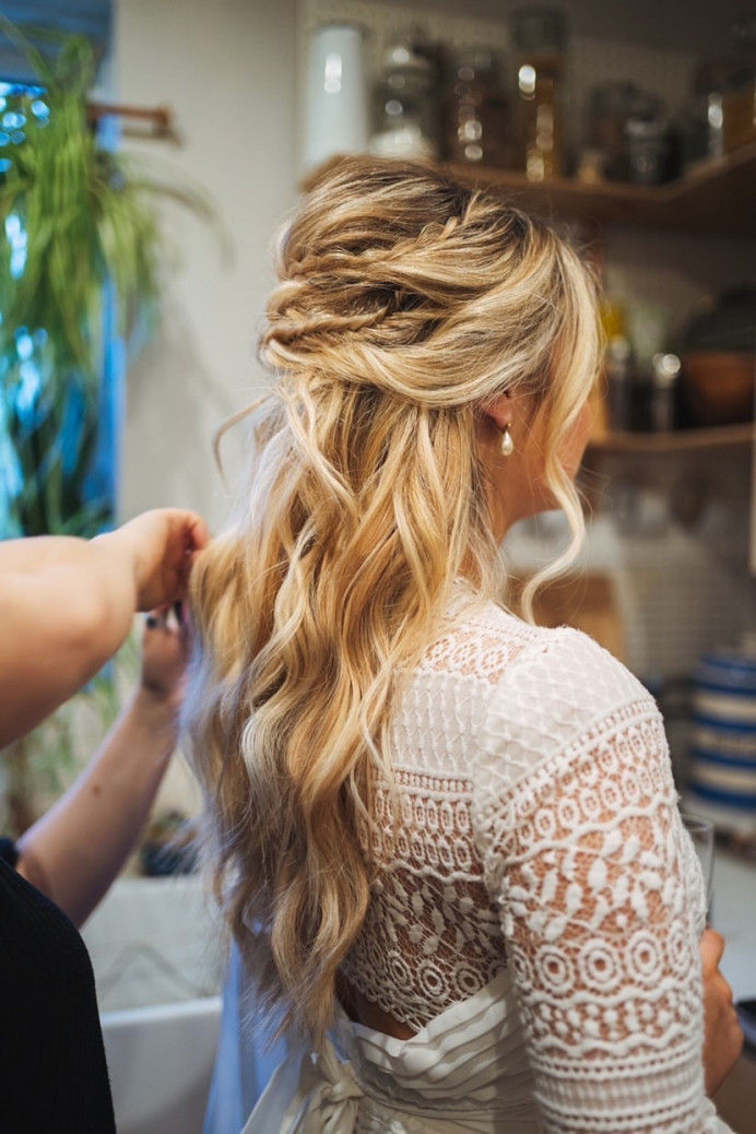 Maddie's super beauty, boho, half up hairstyle with intricate plaits and braids. - Make Me Bridal Artist: Laura Anne Hair & Makeup Designer. Photography by: Bruce Macalpine. #boho #plaits #beachwaves #londonbride #modernbride