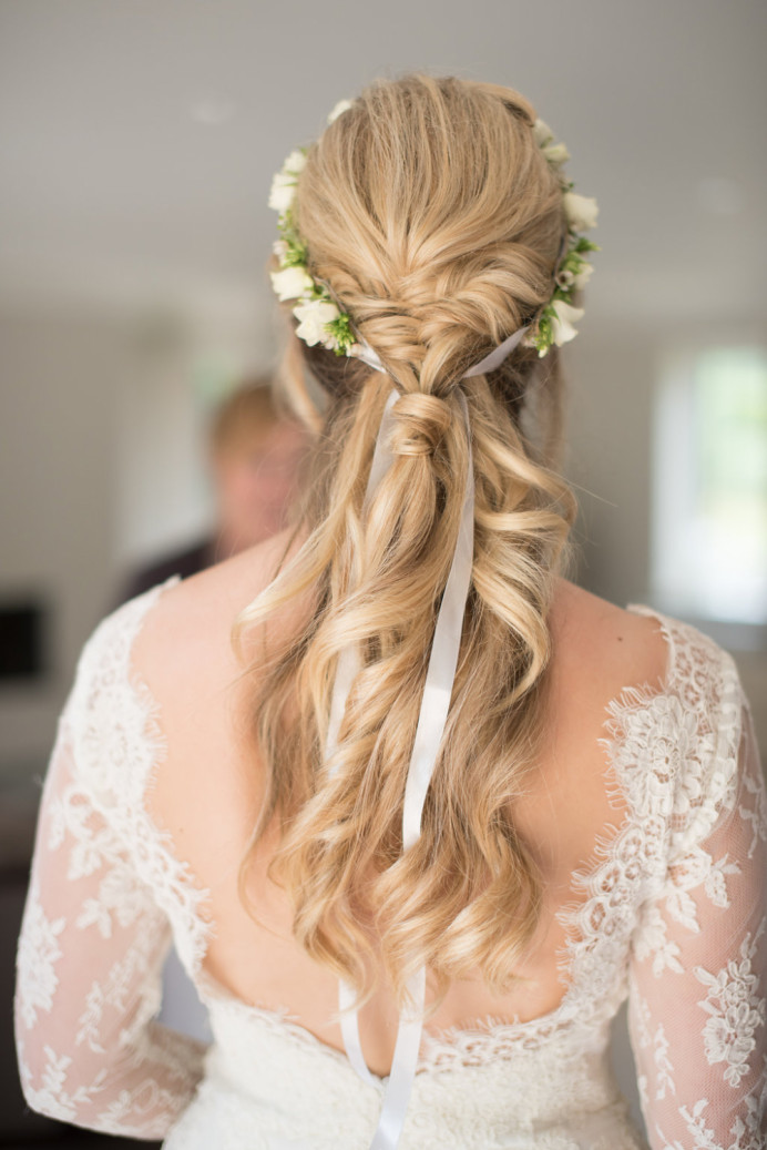 - Make Me Bridal Artist: Laura Anne Hair & Makeup Designer. Photography by: Faye Cornhill. #bohemian #classic #flowercrown #halfuphair #fishtailbraid #plaits #londonwedding #softcurls #modern #trendybride #modernbride #londonbride #blondebride