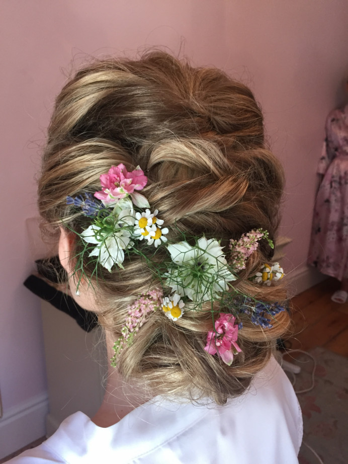 - Make Me Bridal Artist: Laura Anne Hair & Makeup Designer. #bohemian #updo #boho #softupdo #londonbride #twistedupdo #trendybride #modernbride #freshflowers #hairflowers #texturedupdo
