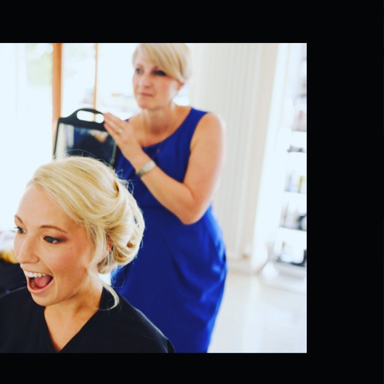 Photo from Sam Gibson while I was doing the bridal hair :) - Make Me Bridal Artist: Janine marino hair . Photography by: Sam Gibson .