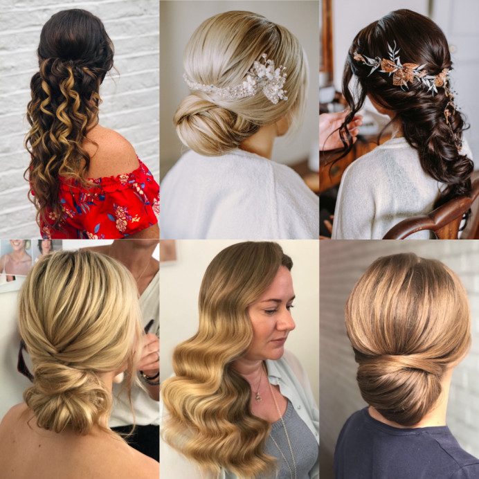 Collage of hair work by the Beauty Ninjas - Make Me Bridal Artist: Beauty Ninjas. #vintage #glamorous #boho #lowbun #hollywoodwaves #messybun