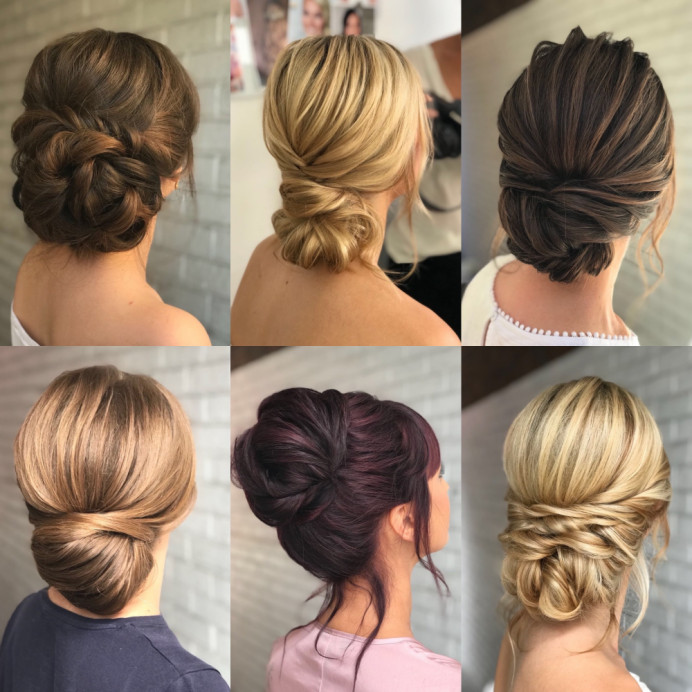 A selection of styles created by Claire of Beauty Ninjas to show variation in height, style and texture. - Make Me Bridal Artist: Beauty Ninjas. #boho #chignon #romantichairup #messybun #lowbun #highbun #sleek #texturedupdo #curlybun