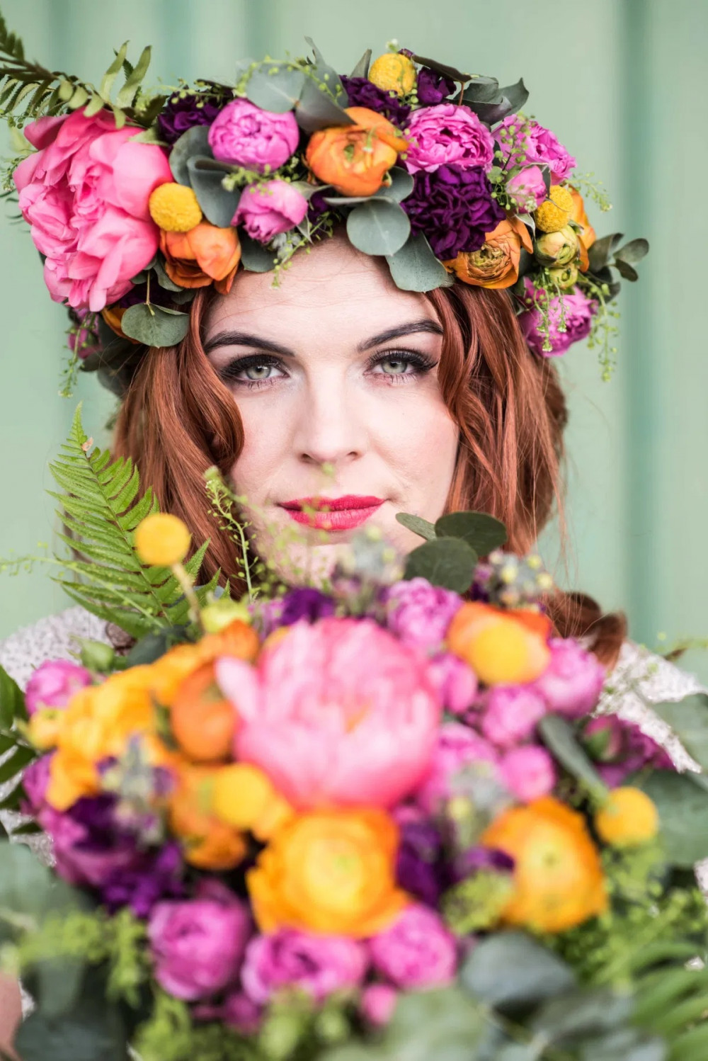 Statement flower crowns are a perfect way to add colour to your wedding theme and to bring a subtle hairstyle to life - Make Me Bridal Artist: The Hairbook. Photography by: Matt Glover. #bohemian #vintage #boho #flowercrown #halfuphair #curls #weddingmorning