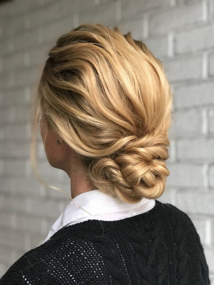 This updo was created on my 1-1 training course with bridal specialist Kasia in London Richmond.    - Make Me Bridal Artist: Cheveux cimone. #boho #curls #blonde #hairup #texturedupdo
