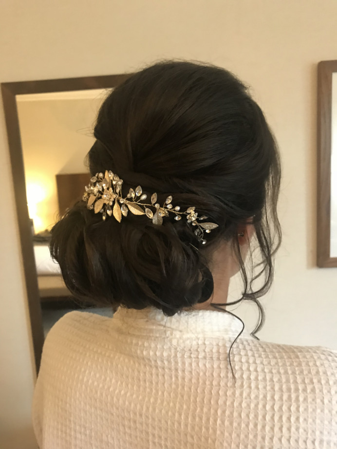 Hair up for my bride who was celebrating her wedding party back in the uk.  After getting married in Thailand. - Make Me Bridal Artist: Cheveux cimone. #classic #hairvine #rustic #hairup