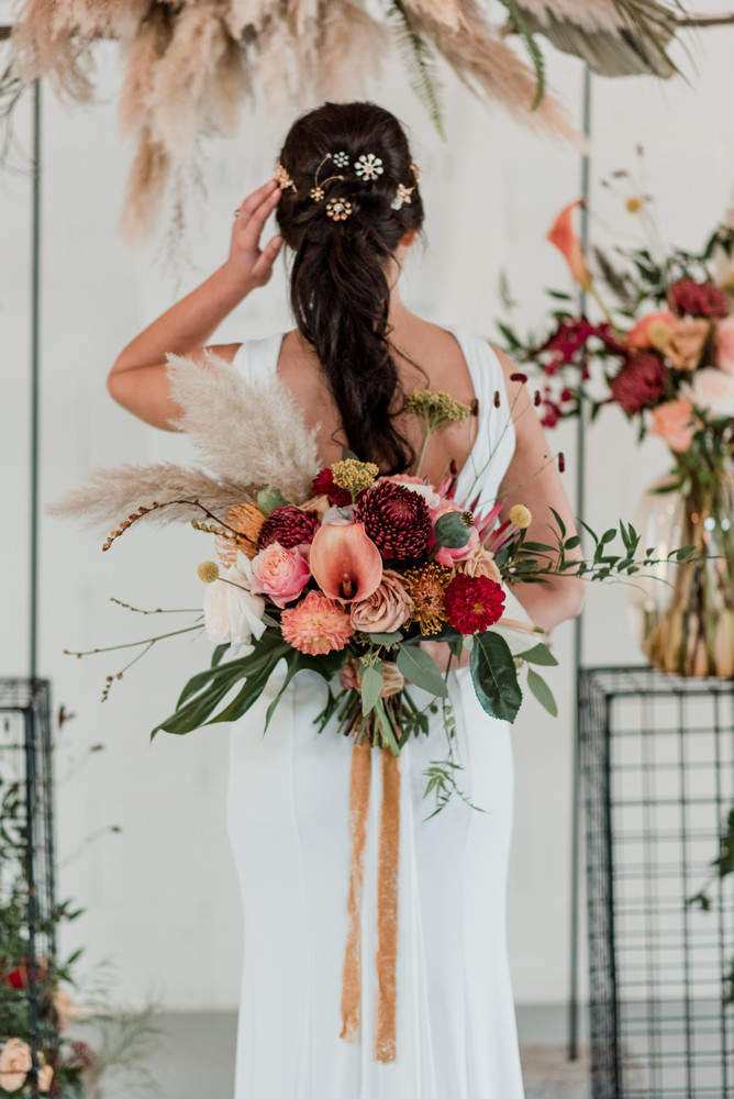 This photo is from a styled shoot that was published on whimsical weddings.com and Hitched .com Bridal blogs. - Make Me Bridal Artist: Cheveux cimone. Photography by: Laura Martha photography . #halfuphair #bridalhair #ponytail #retro