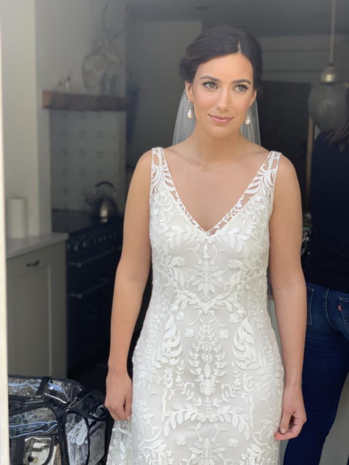 2019 bride Chloe looking stunning - Make Me Bridal Artist: Cheveux cimone. #bohemian #bridalhair #hairup #braidedupdo