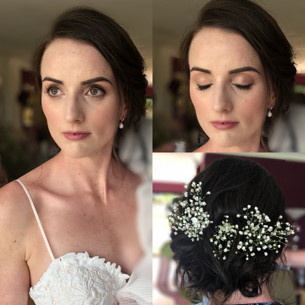 Hair & makeup by me using fresh flowers in the hair - Make Me Bridal Artist: Bombshell Makeup UK. #boho #naturalmakeup #updo #hairup #flowers #natural #glam #glambride #nudelip #bohobride #softupdo #softhairup #freshfaced #freshflowers #hairflowers