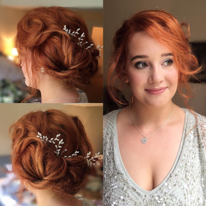 Bridesmaid hair & makeup by me - Make Me Bridal Artist: Bombshell Makeup UK. #bohemian #classic #boho #naturalmakeup #updo #bridesmaidhair #vintage #bridesmaidhair #bridesmaidhairandmakeup #redhead #nudelip #softupdo #softhairup #vintagehair #hairaccessories