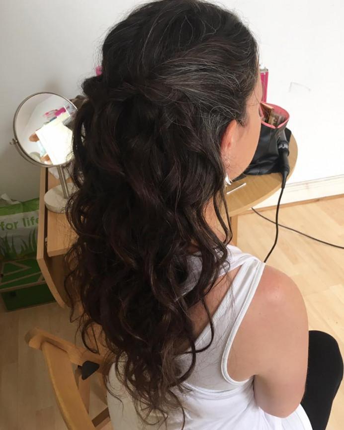 Bridesmaid hair by me - Make Me Bridal Artist: Bombshell Makeup UK. #halfuphair #curls #braid #bridesmaidhair #plaits #bridesmaid #loosecurls #bridesmaidhair #smoothcurls #longhair #braidedupdo #smoothcurls