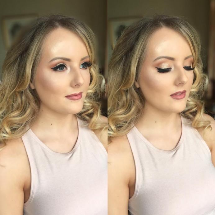 Wearable glam hair & makeup by me - Make Me Bridal Artist: Bombshell Makeup UK. #glamorous #curls #glow #goldeyeshadow #lashes #smoothcurls #wingedliner #eyeliner #dewyskin #glambride #nudelip #falselashes #glowingskin #brows #smoothcurls #lipliner