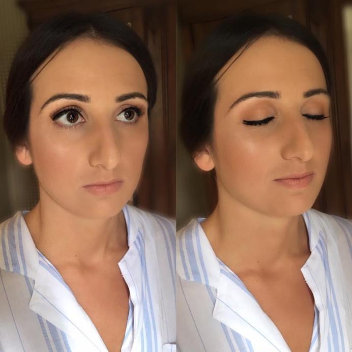 Subtle glam makeup - Make Me Bridal Artist: Bombshell Makeup UK. #glamorous #glow #lashes #wingedliner #glam #eyeliner #nudelip #falselashes #eyelashes #glowingskin #summer #brows #peachy #summerwedding