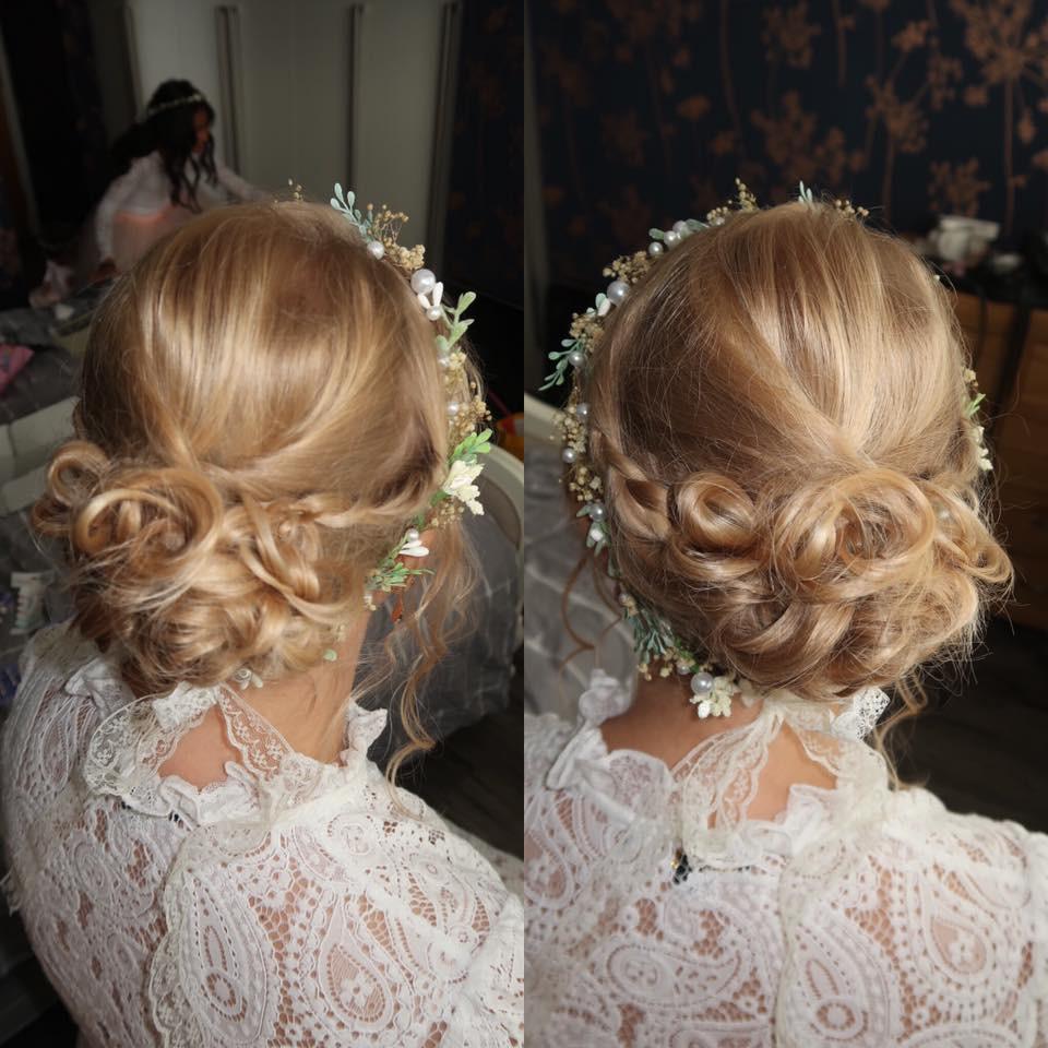 - Make Me Bridal Artist: Bombshell Makeup UK. #glamorous #curls #updo #blonde #hairup #glam #glambride #loosewaves #hairaccessories #looseupdo