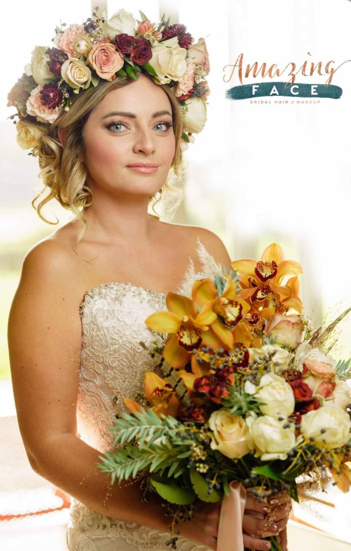 Emma at Greenwood Grange in Dorchester - Make Me Bridal Artist: Amazing Face Bridal Hair & Make up Dorset . Photography by: Tp Photography. #bohemian #vintage #boho #flowercrown #roses #bridalmakeup #bridalhair #flowersinherhair