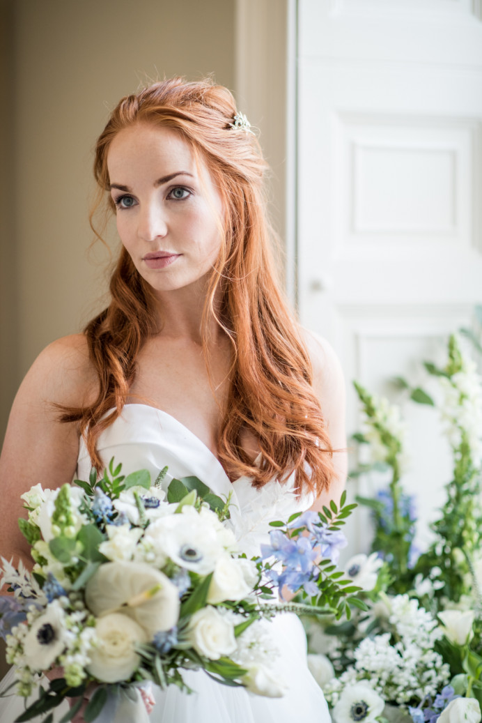 Romantic half up hair and soft, glowing makeup at Saltmarshe Hall. - Make Me Bridal Artist: Chrys Chapman. Photography by: Jane Beadnell. #classic #glamorous #naturalmakeup #glowingskin