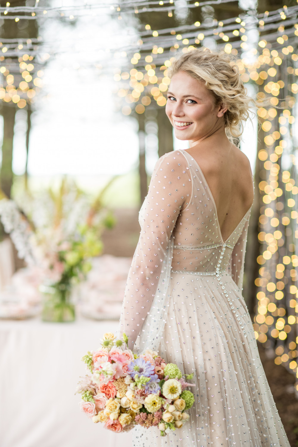 Featured over on Brides Up North, this look was created at Bunny Hill with Little Pearl Bridal gowns -- sherbet/ pastel tones were the inspiration. A celebration of all things spring romance. - Make Me Bridal Artist: Chrys Chapman. Photography by: Jane Beadnell. #naturalmakeup #glowingskin #curlyhair #romanticmakeup