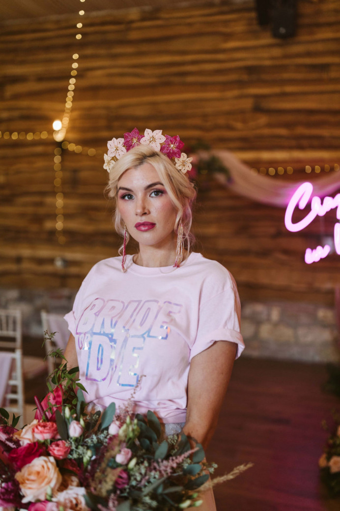 A bold lip paired with soft, romantic makeup and hair up for this look -- topped off with bridal accessories from Glorious by Heidi at Hornington Manor. - Make Me Bridal Artist: Chrys Chapman. Photography by: Kayleigh Ann. #boho #glamourous #brightlip #pinks