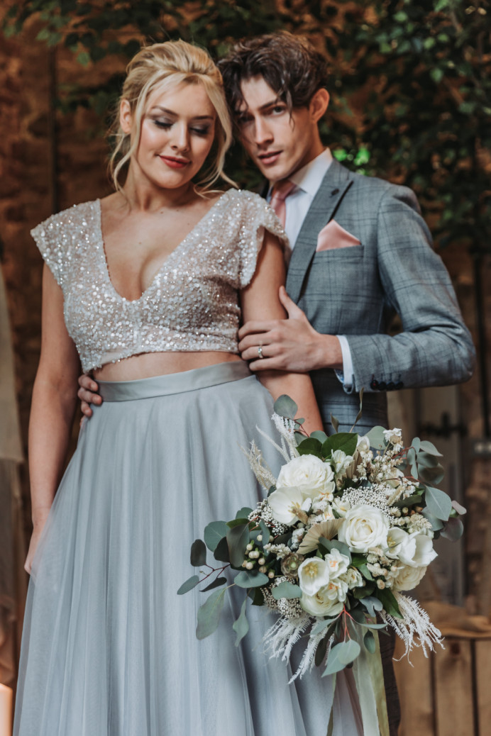 Modern classic bridal look created using accessories from The Bobby Pin UK -- glowing skin, soft greys on eyes and blush pink on lip.   This modern take on boho chic - Make Me Bridal Artist: Chrys Chapman. Photography by: Gemma Summers. #modern #naturalglam