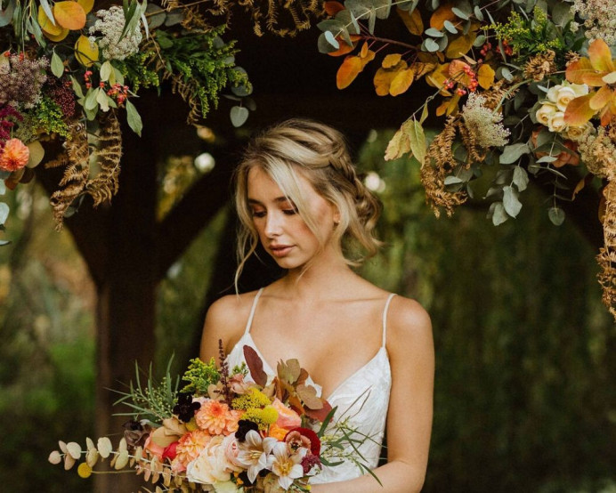 Boho-inspired elegance. Great for anyone who wants relaxed, flawless beauty. - Make Me Bridal Artist: Chrys Chapman. Photography by: Freya Raby. #glam #boho #plaitupdo #nauralmakeup