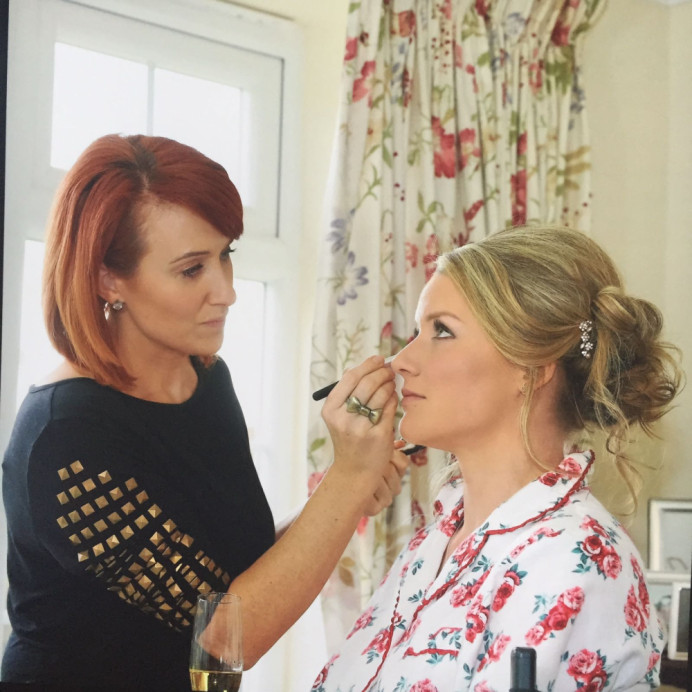 This is the gorgeous Alie on the morning of her wedding day at her parents beautiful home in Felsted in Essex.  Alie got married on the 11th of November 2016. - Make Me Bridal Artist: PosiTIVEYly Peachy Makeup, Beauty, Health . Photography by: Millie Benbow. #weddingmorning #gettingready #bridalmakeup #meatwork #glow #elegant #pretty #makeup #natural
