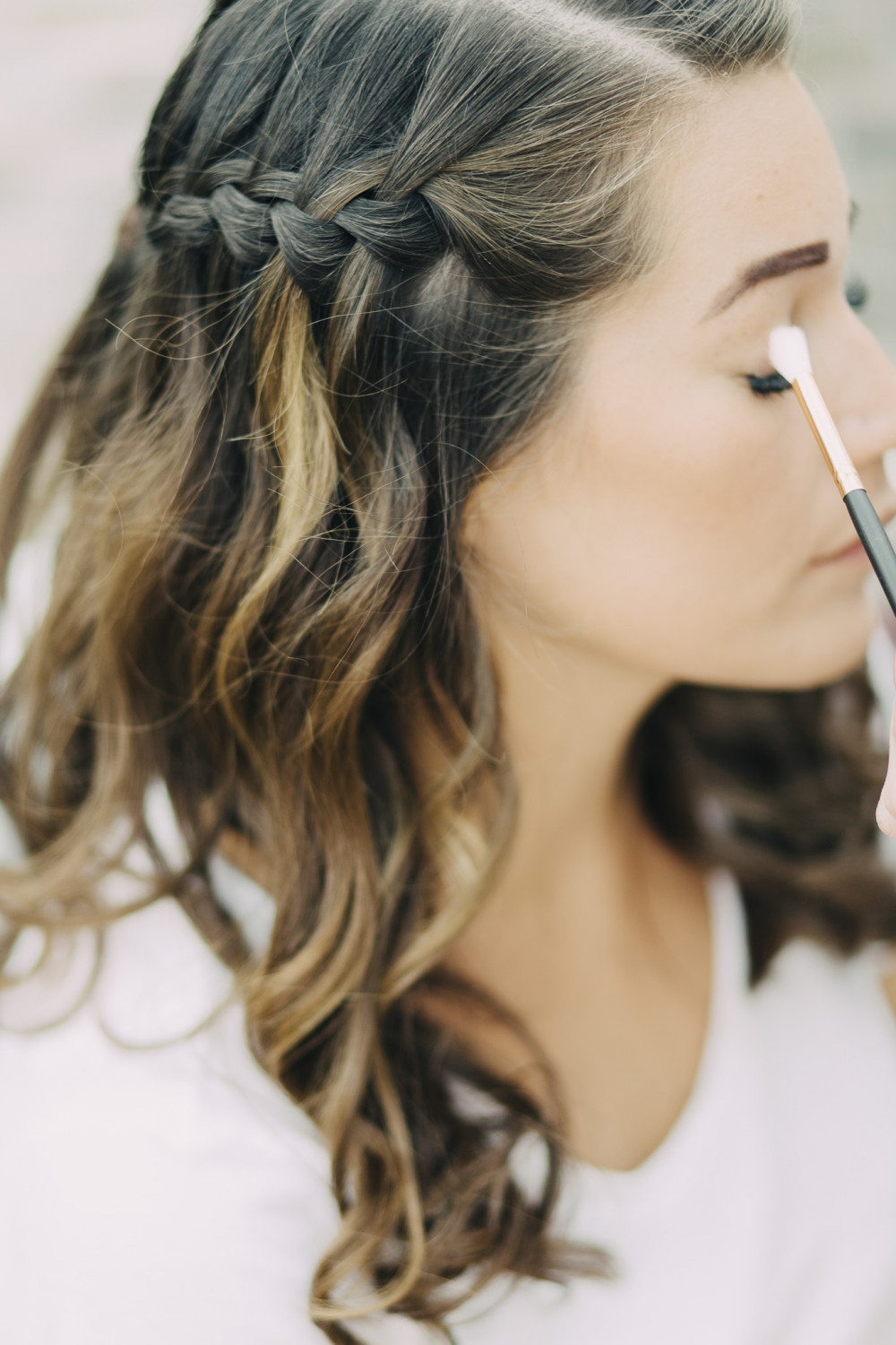Waterfall braid hair by Victoria - Make Me Bridal Artist: Swaffields Lilliput hair salon . Photography by: Liza Edgington. #boho #halfuphair #curls #gypsophila #gettingready #soft